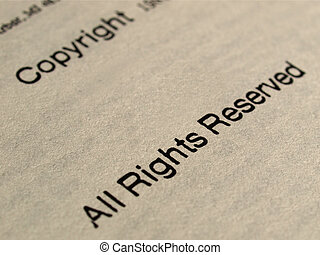 Copyright notice, All rights reserved on a book frontspice