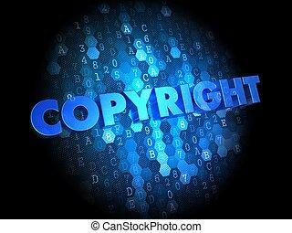 Copyright on Dark Digital Background.