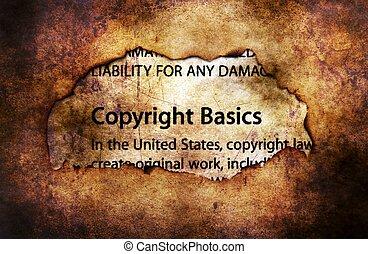Copyright on paper hole grunge background