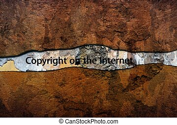 Copyright on the internet text on wall