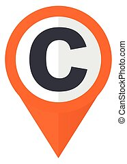 Copyright orange pointer vector icon in eps 10 isolated on white background.