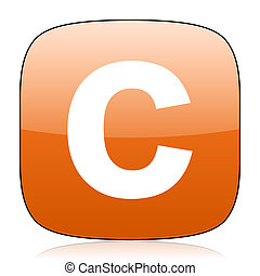 copyright orange square web design glossy icon