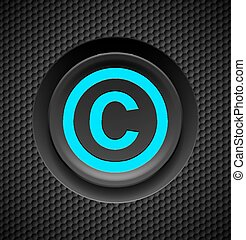 Copyright protection - Blue button copyright symbol on a...