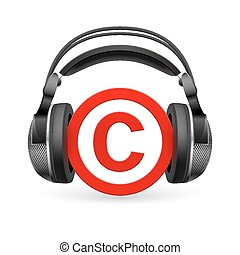Copyright protection - Red icon of copyright in black ...