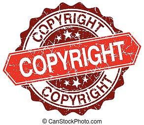 copyright red round grunge stamp on white