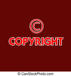 Copyright registered and trademark symbols isolated over white with stitch style