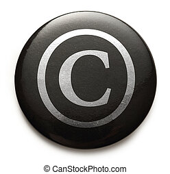 Copyright reserved sign on black button