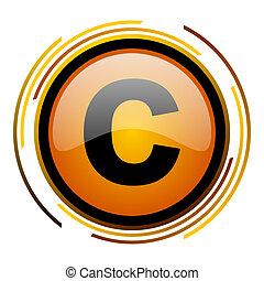 copyright round design orange glossy web icon