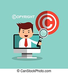copyright set flat icons