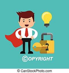 copyright set flat icons