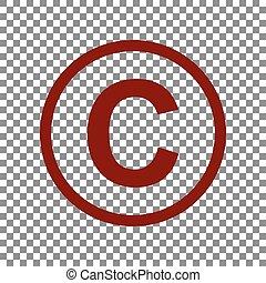 Copyright sign illustration. Maroon icon on transparent...