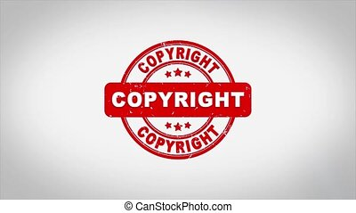 Copyright Signed Stamping Text Wooden Stamp Animation. Red Ink on Clean White Paper Surface Background with Green matte Background Included.