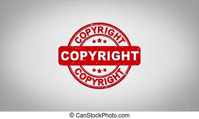 Copyright Signed Stamping Text Wooden Stamp Animation.
