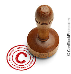 Copyright Stamper - Red Copyright Stamp with Wooden Stamper...