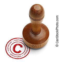 Copyright Stamper - Red Copyright Stamp with Wooden Stamper...