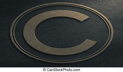 Copyright Symbol embossed on Paper Background.