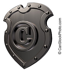 copyright symbol on metal shield on white background - 3d illustration