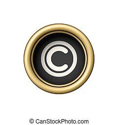 Copyright Symbol on vintage golden typewriter button.
