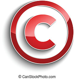 Copyright symbol with shadow effect isolated on white...