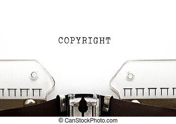 Copyright Typewriter - Copyright printed on an old ...