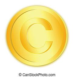 copyright, zeichen, in, goldmünze