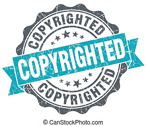 Copyrighted blue grunge retro style isolated seal