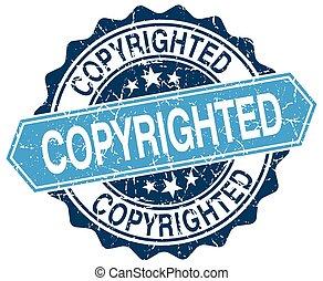 copyrighted blue round grunge stamp on white