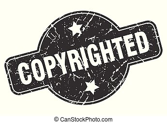 copyrighted round grunge isolated stamp