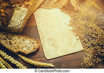 copyspace, 포도 수확, 시골풍, 빵집, 종이, 짐