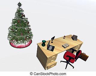 copyspace., adornado, oficina, árbol, navidad