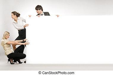 copyspace, affärsfolk, lott, stor, dragande, vita planka