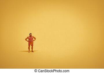 copyspace, backgound, jakiś, żółty, kostium kąpielowy, miniatura, retro, facet
