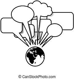 copyspace, blogs, snakker, tale, tweets, jord, øst, boble
