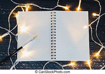 copyspace, bois, portables, lumières, ajouter, brosse, textsurrounded, bureau, fée, vous