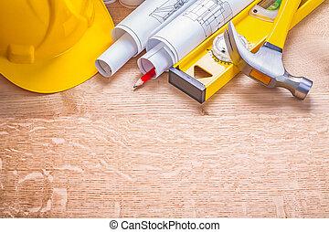 copyspace, bouwsector, concept, achtergrond, gele, hardhat, gerolde
