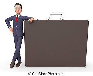 Copyspace Businessman Represents Bag Entrepreneur And Blank 3d Rendering