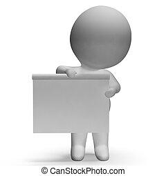 copyspace, caractère, inclut, planche, vide, blanc, 3d