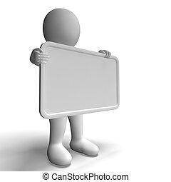 copyspace, caractère, signe, inclure, vide, blanc, 3d