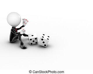 copyspace, casino, -, juegos, en línea, hombre, 3d