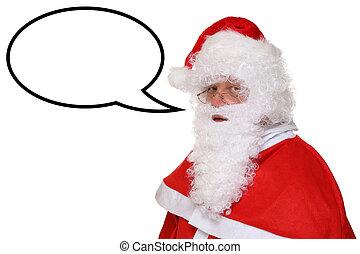 copyspace, claus, anförande, jultomten, bubbla, jul, talande