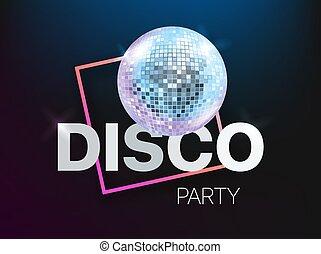 copyspace, disco, vecteur, gabarit, fête, layout., bannière, carte