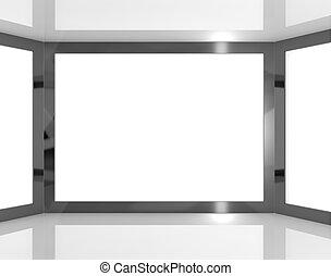 copyspace, espacio, televisión, grande, monitores, blanco, ...