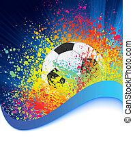 copyspace., fußball, eps, hintergrund, 8