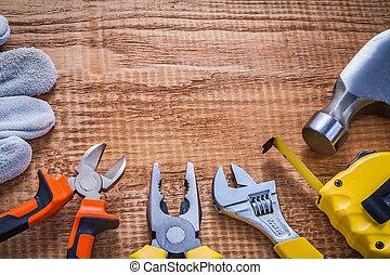 copyspace image set of handtools hammer tapeline wrench ...