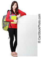 copyspace, jovem, carregar, livros, estudante, feliz