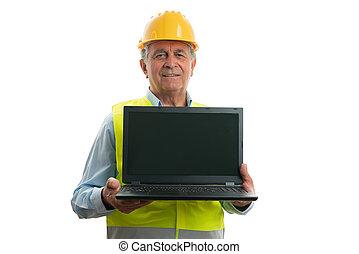 copyspace, laptop, konstruál, átnyújtás