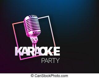 copyspace, layout., vecteur, gabarit, bannière partie, karaoke, carte