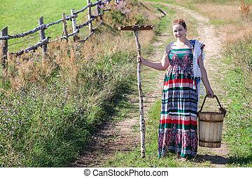 copyspace, legno, paese, rastrello, secchio, village., ragazza, strada