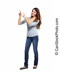 copyspace., mostrando, mulher, jovem