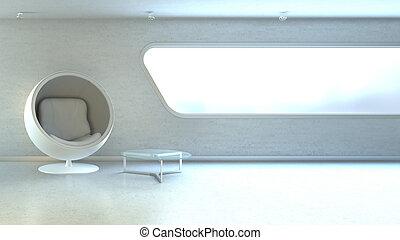 copyspace, mur, fauteuil, moderne, interrior, fenêtre, blanc